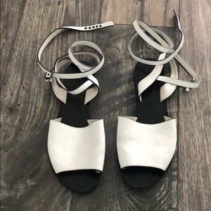 Raye wrap ankle strap white leather sandals